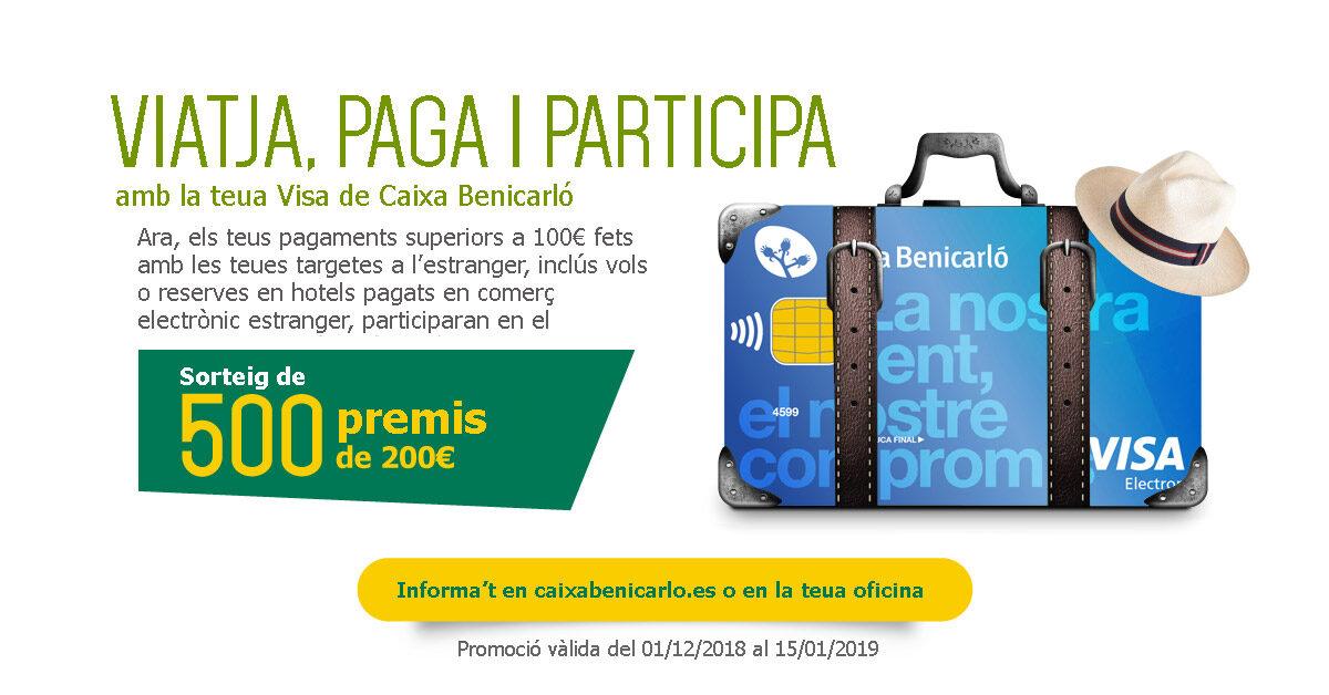 Caixa Benicarló premia les compres amb targeta Visa en l'estranger